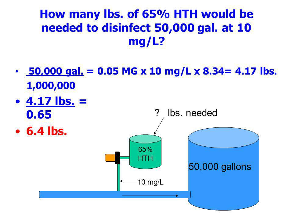How many lbs. of 65% HTH would be needed to disinfect 50,000 gal