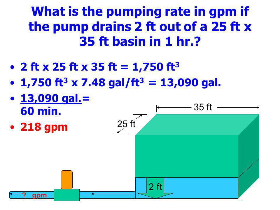 What is the pumping rate in gpm if the pump drains 2 ft out of a 25 ft x 35 ft basin in 1 hr.