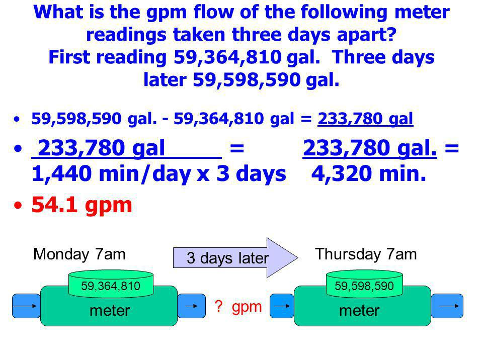 233,780 gal = 233,780 gal. = 1,440 min/day x 3 days 4,320 min.