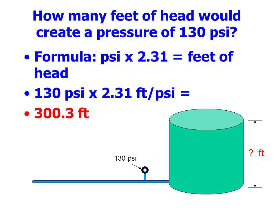 How many feet of head would create a pressure of 130 psi