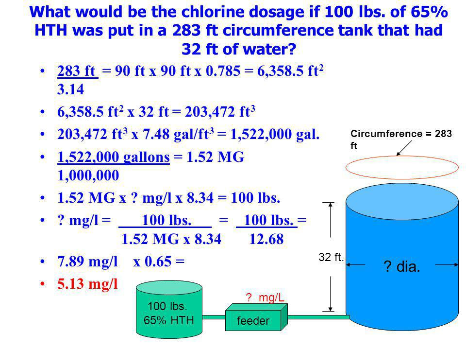 What would be the chlorine dosage if 100 lbs