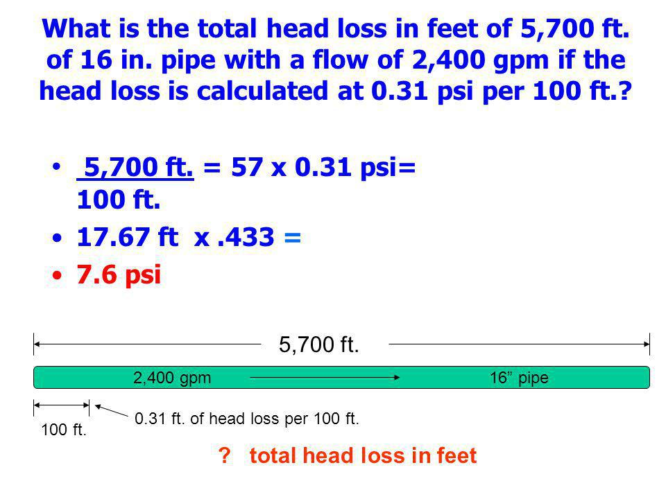 What is the total head loss in feet of 5,700 ft. of 16 in