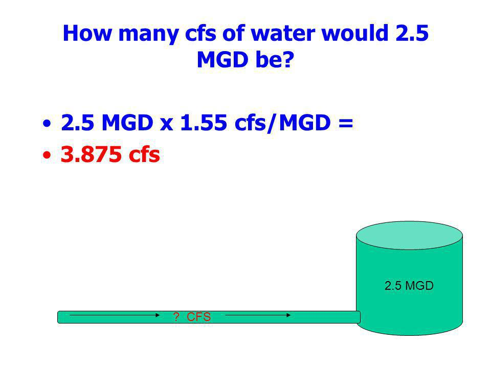 How many cfs of water would 2.5 MGD be