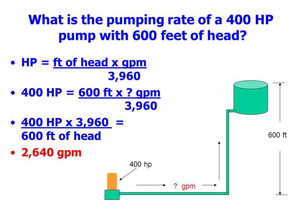 What is the pumping rate of a 400 HP pump with 600 feet of head