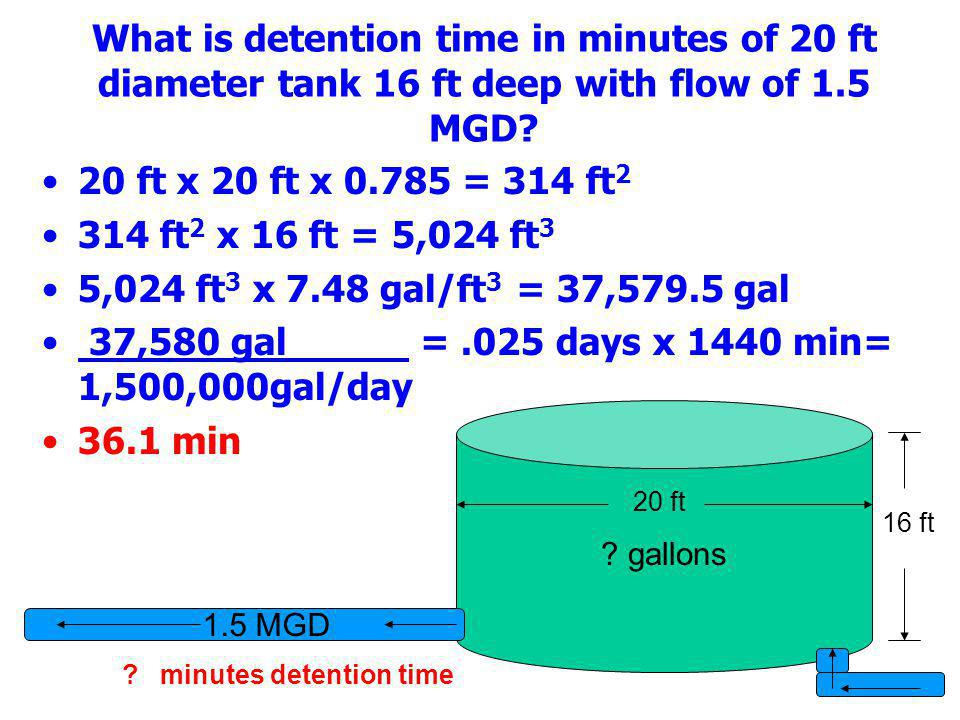 37,580 gal = .025 days x 1440 min= 1,500,000gal/day 36.1 min
