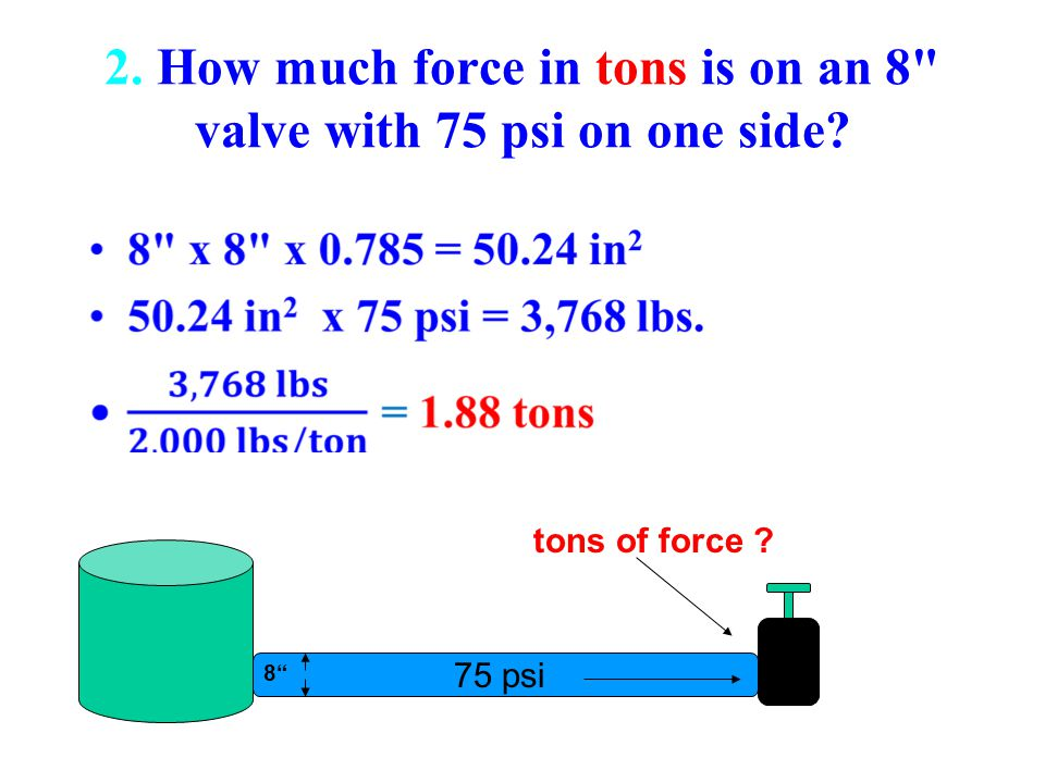 2. How much force in tons is on an 8 valve with 75 psi on one side