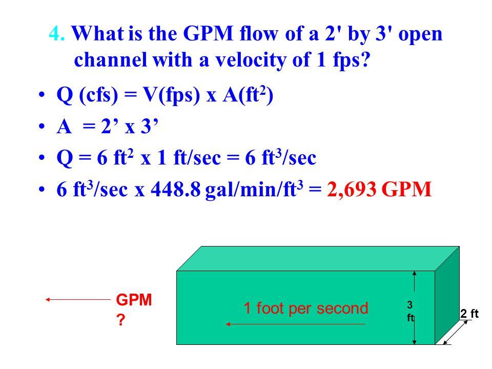 6 ft3/sec x 448.8 gal/min/ft3 = 2,693 GPM