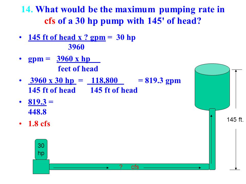 14. What would be the maximum pumping rate in cfs of a 30 hp pump with 145 of head