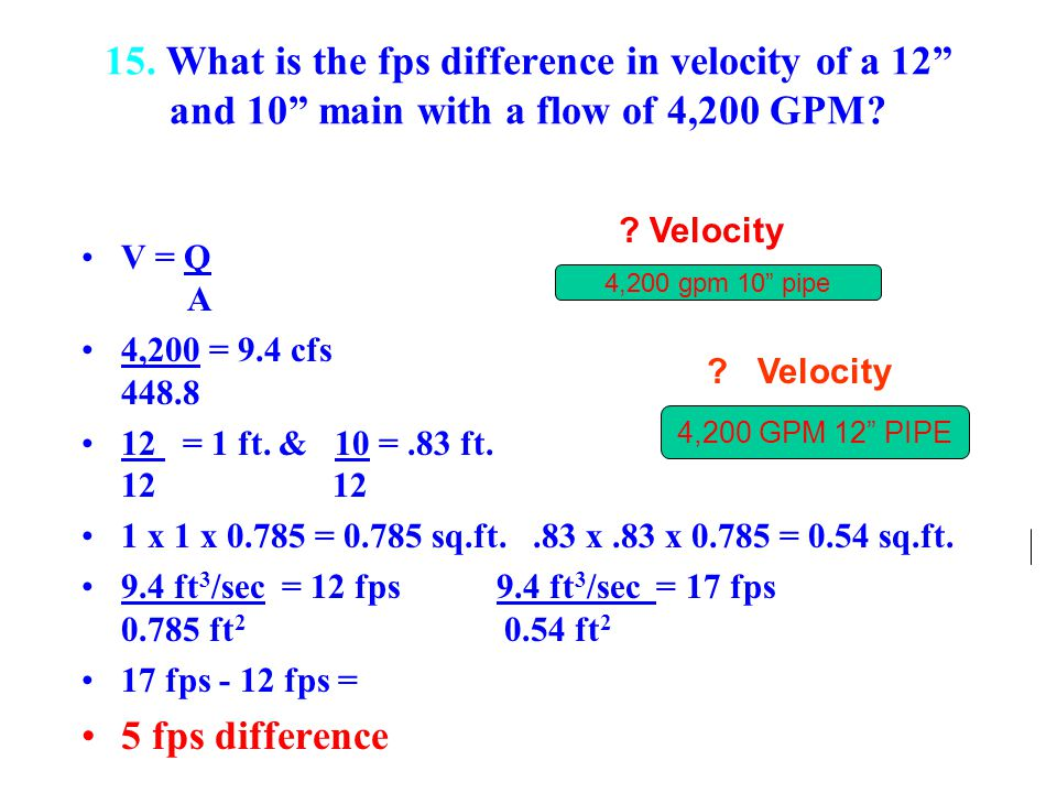 15. What is the fps difference in velocity of a 12 and 10 main with a flow of 4,200 GPM