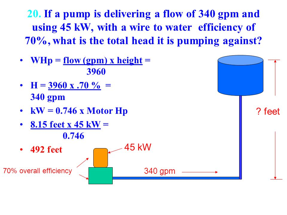 20. If a pump is delivering a flow of 340 gpm and using 45 kW, with a wire to water efficiency of 70%, what is the total head it is pumping against