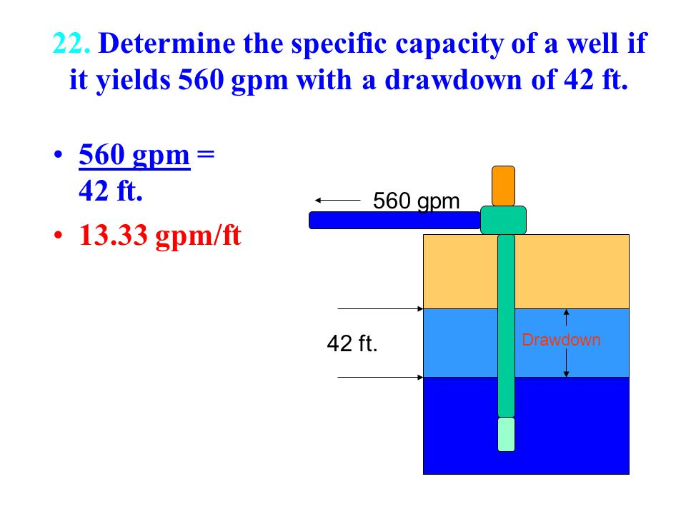 22. Determine the specific capacity of a well if it yields 560 gpm with a drawdown of 42 ft.