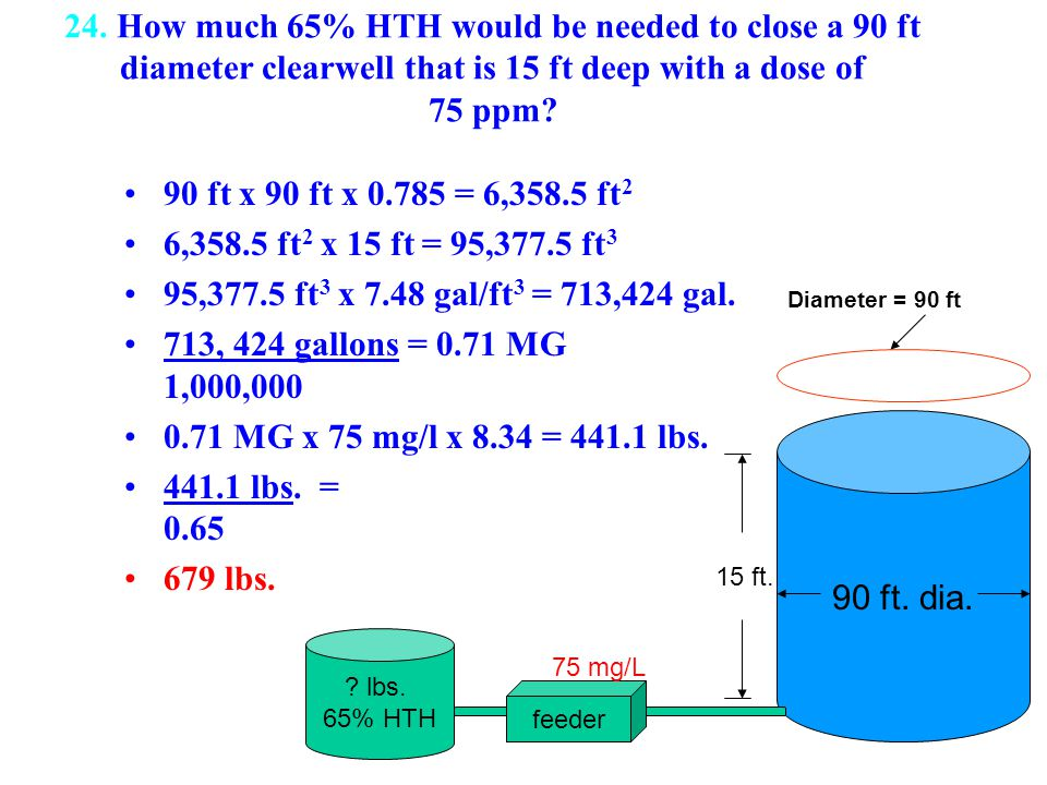 24. How much 65% HTH would be needed to close a 90 ft diameter clearwell that is 15 ft deep with a dose of 75 ppm