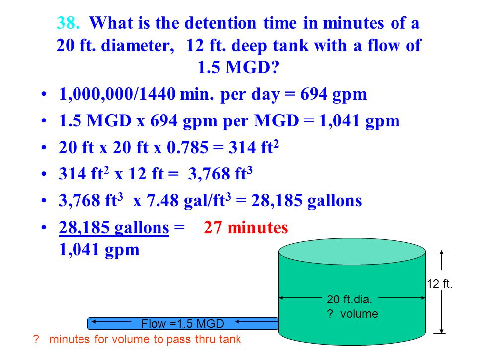 38. What is the detention time in minutes of a 20 ft. diameter, 12 ft
