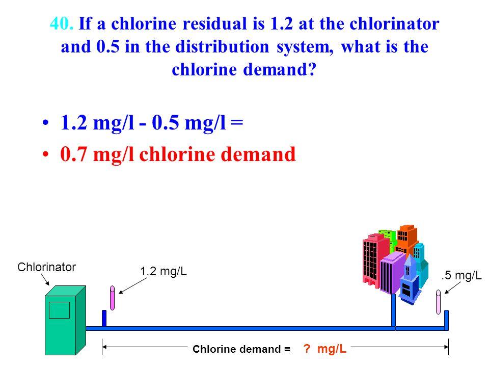 1.2 mg/l - 0.5 mg/l = 0.7 mg/l chlorine demand