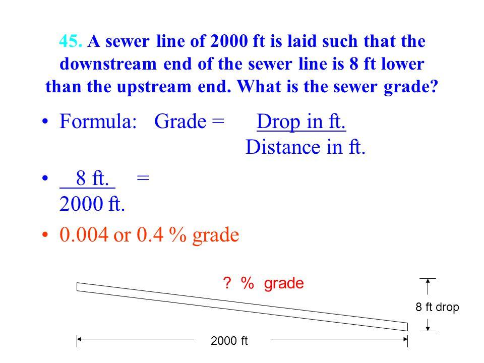 Formula: Grade = Drop in ft. Distance in ft. 8 ft. = 2000 ft.