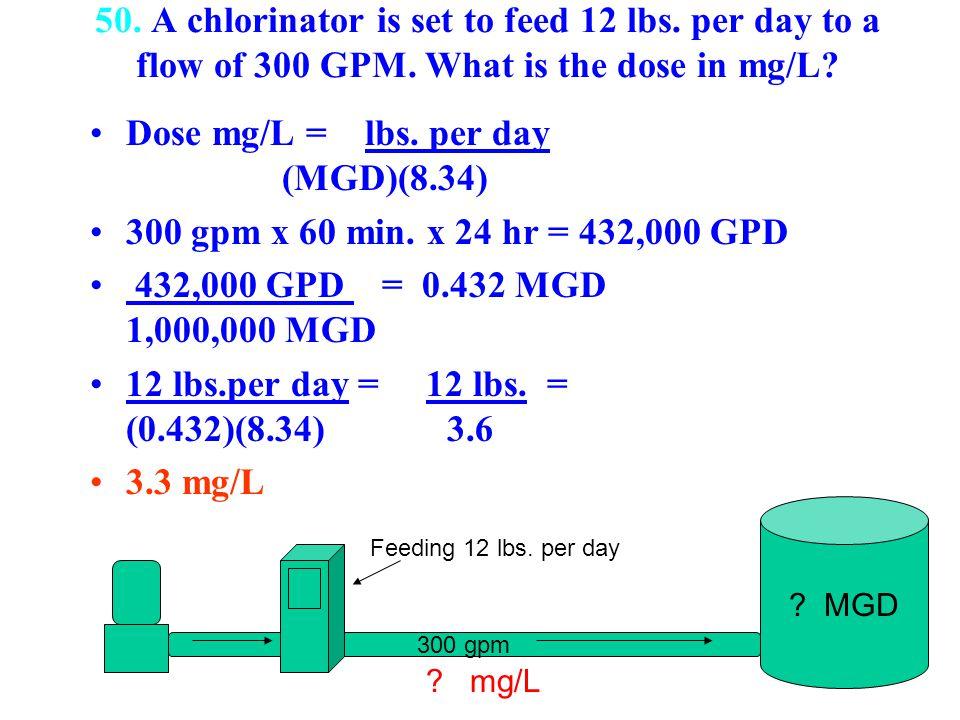 Dose mg/L = lbs. per day (MGD)(8.34)