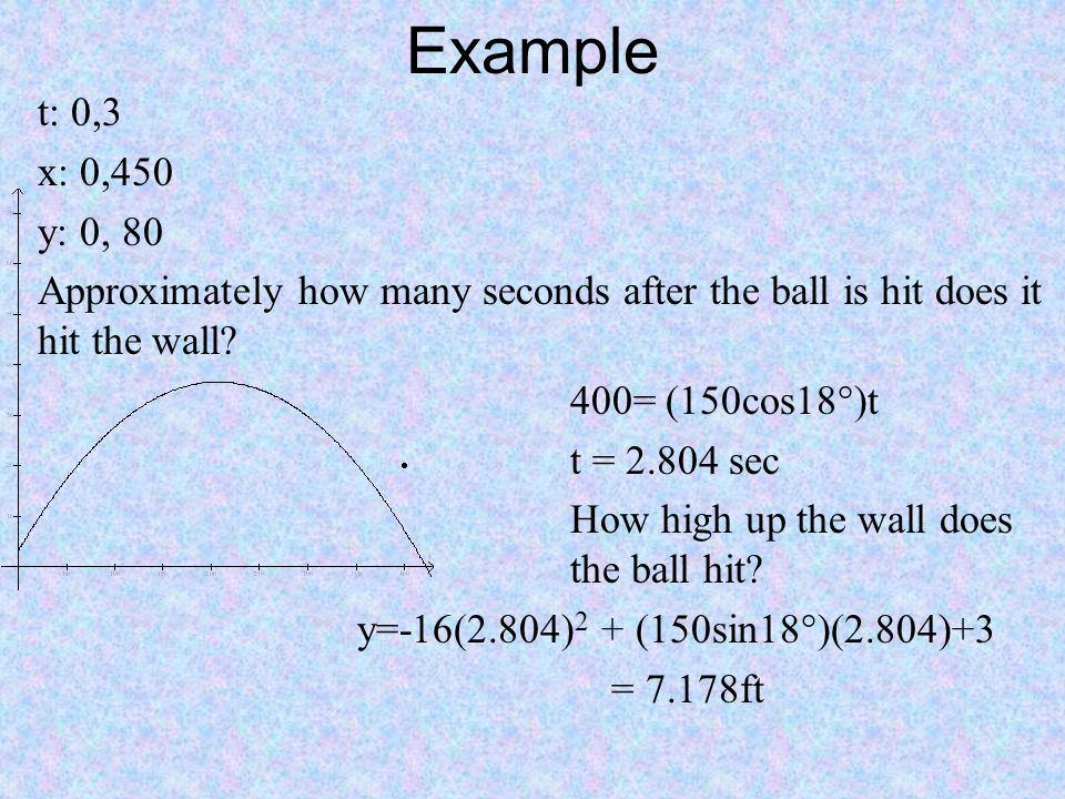 Example t: 0,3. x: 0,450. y: 0, 80. Approximately how many seconds after the ball is hit does it hit the wall
