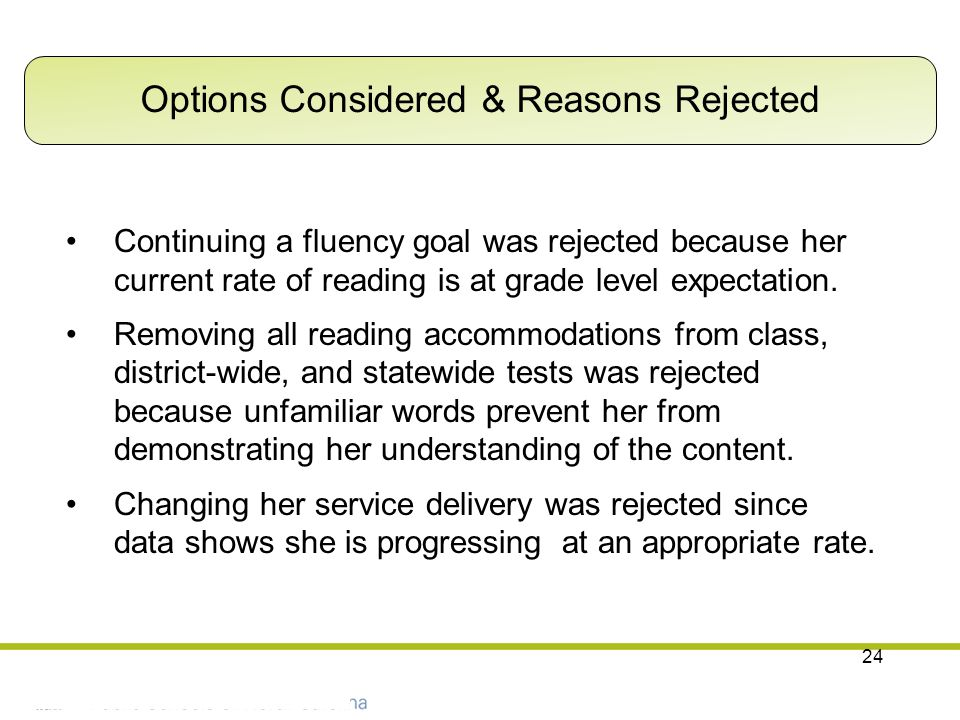 Options Considered & Reasons Rejected