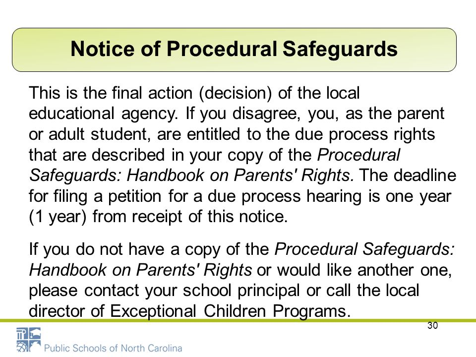Notice of Procedural Safeguards