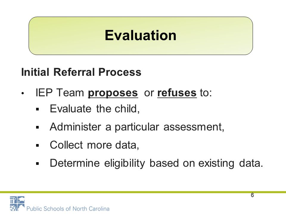 Evaluation Initial Referral Process IEP Team proposes or refuses to: