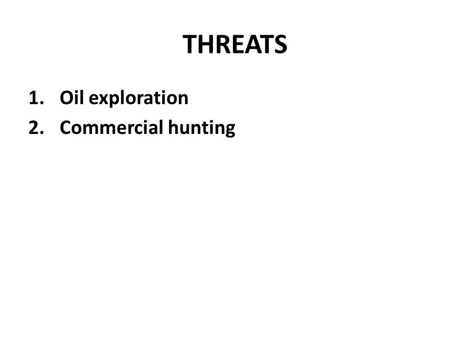 THREATS Oil exploration Commercial hunting