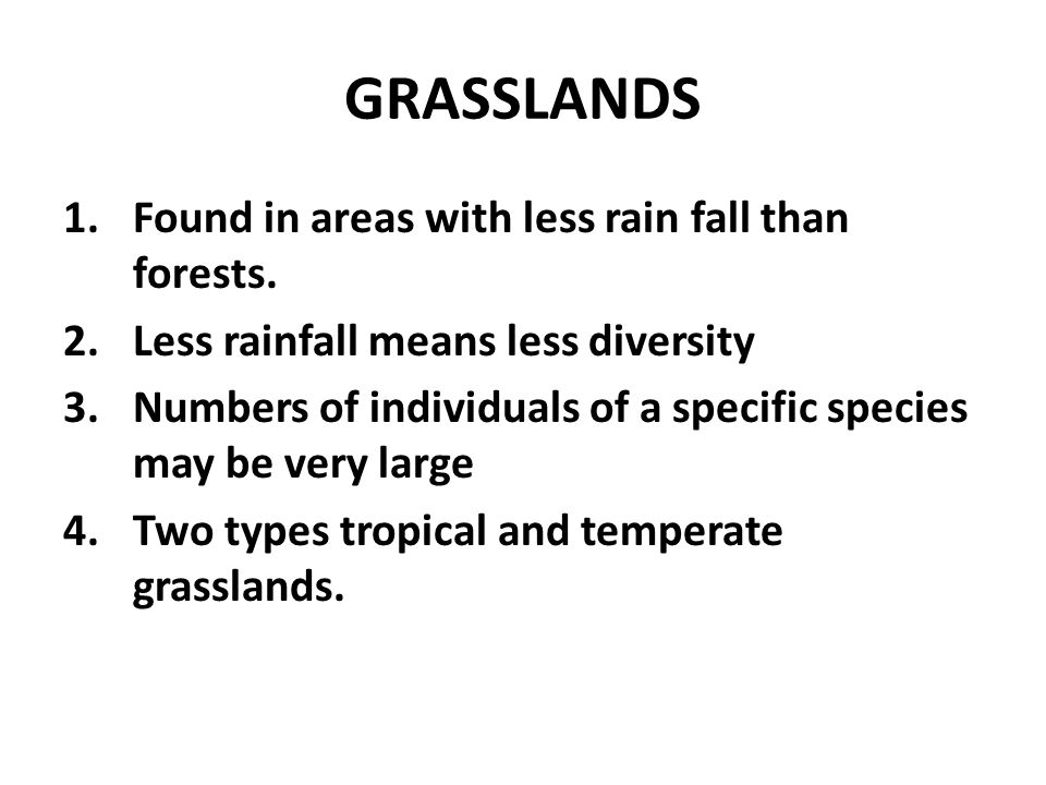 GRASSLANDS Found in areas with less rain fall than forests.