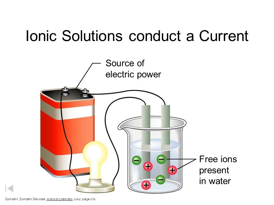 Ionic Solutions conduct a Current