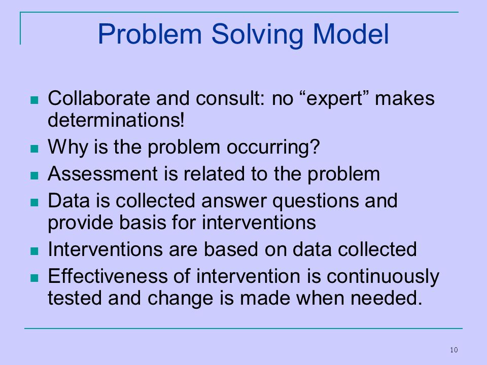 Problem Solving Model Collaborate and consult: no expert makes determinations! Why is the problem occurring