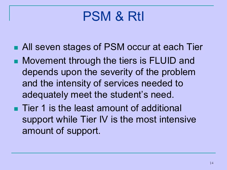 PSM & RtI All seven stages of PSM occur at each Tier