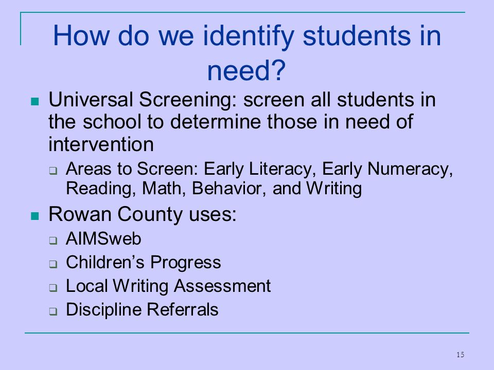 How do we identify students in need