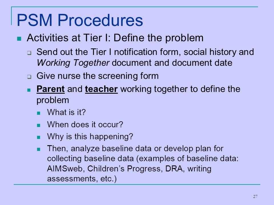 PSM Procedures Activities at Tier I: Define the problem