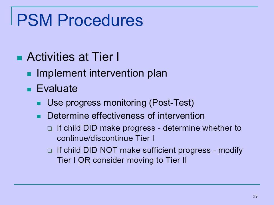 PSM Procedures Activities at Tier I Implement intervention plan