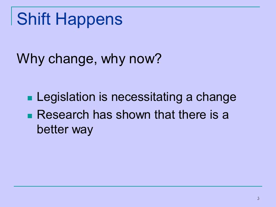 Shift Happens Why change, why now