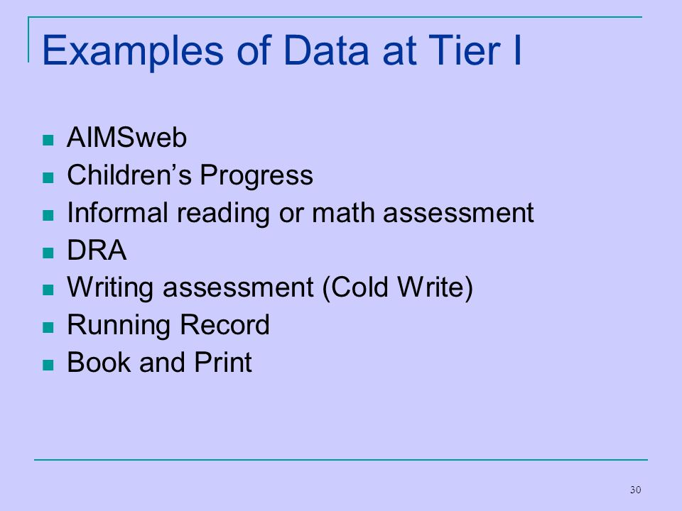 Examples of Data at Tier I