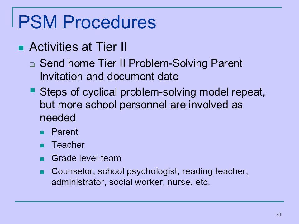 PSM Procedures Activities at Tier II