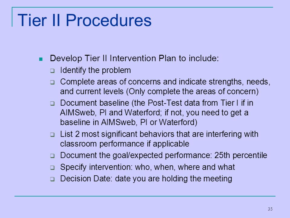 Tier II Procedures Develop Tier II Intervention Plan to include: