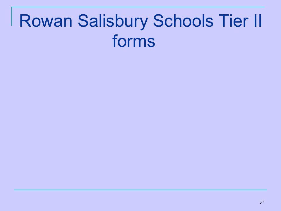 Rowan Salisbury Schools Tier II forms