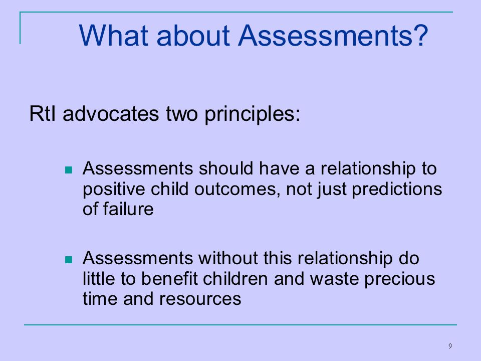 What about Assessments