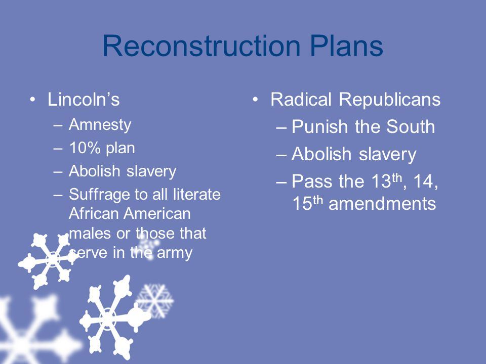 Reconstruction Plans Lincoln's Radical Republicans Punish the South