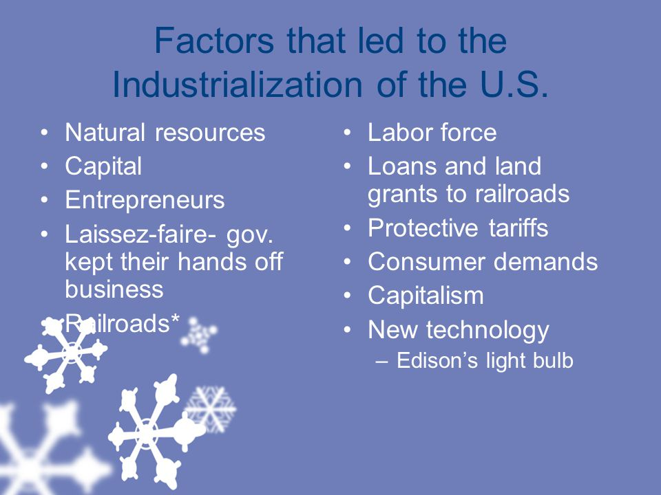 Factors that led to the Industrialization of the U.S.