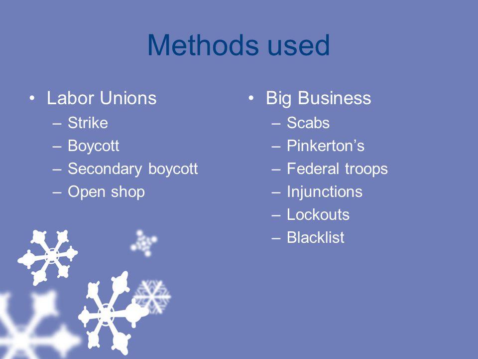 Methods used Labor Unions Big Business Strike Boycott