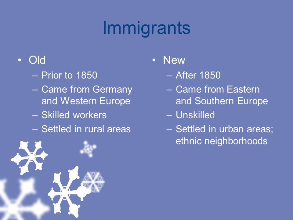 Immigrants Old New Prior to 1850 Came from Germany and Western Europe