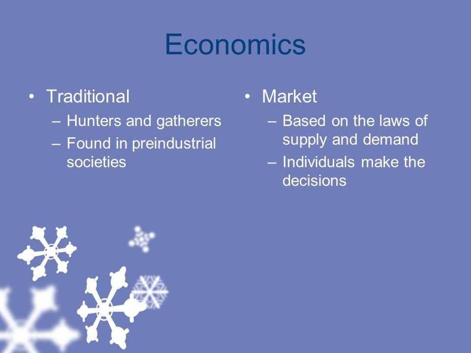 Economics Traditional Market Hunters and gatherers