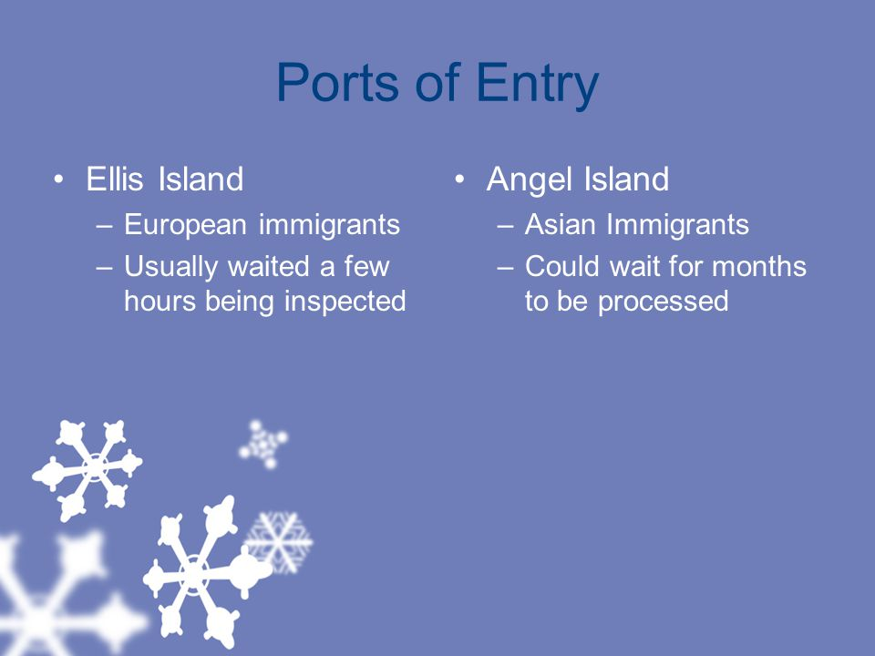 Ports of Entry Ellis Island Angel Island European immigrants