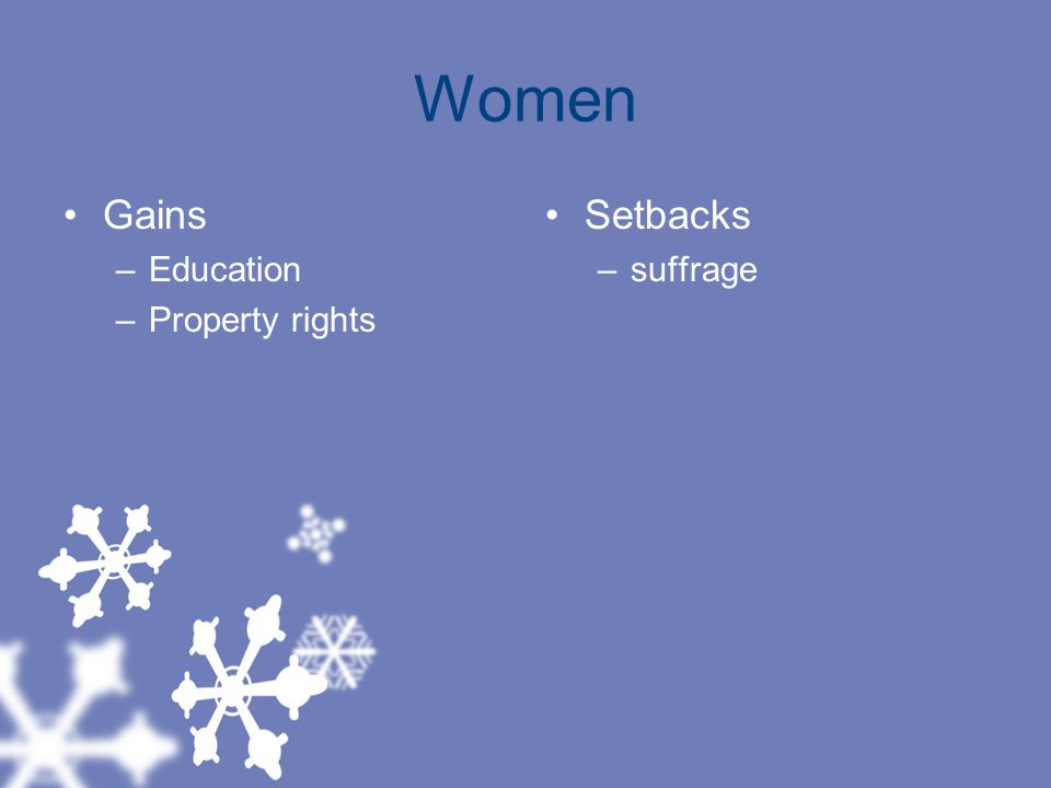 Women Gains Education Property rights Setbacks suffrage