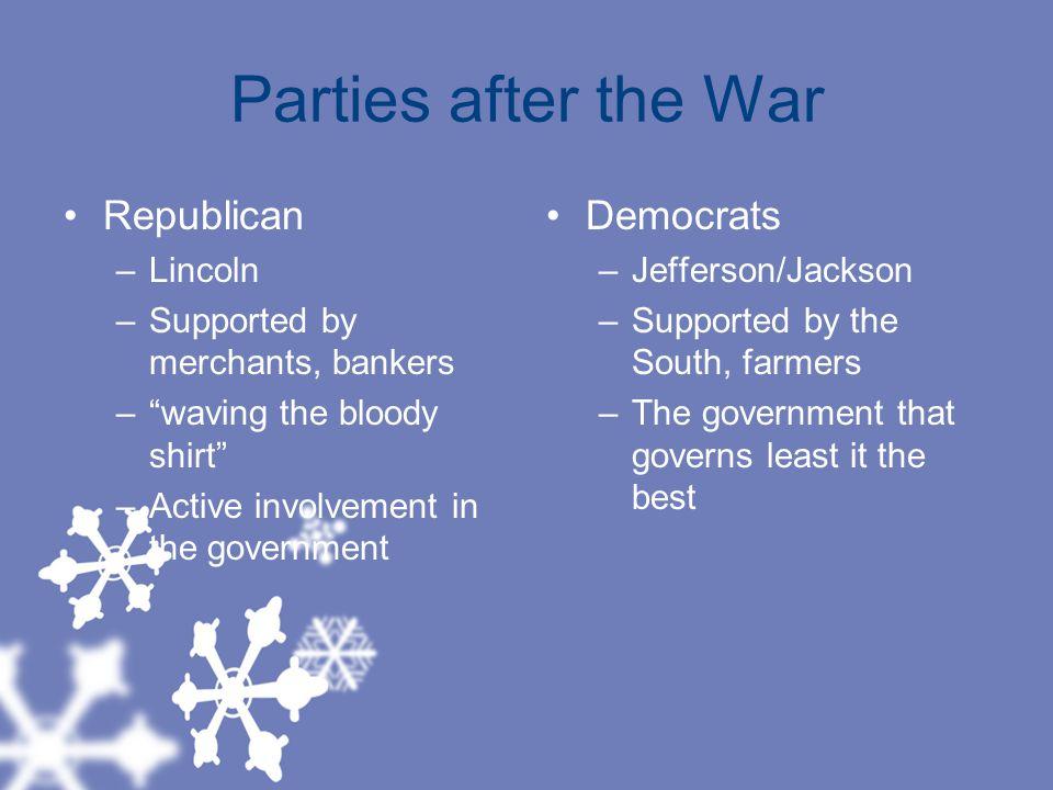 Parties after the War Republican Democrats Lincoln