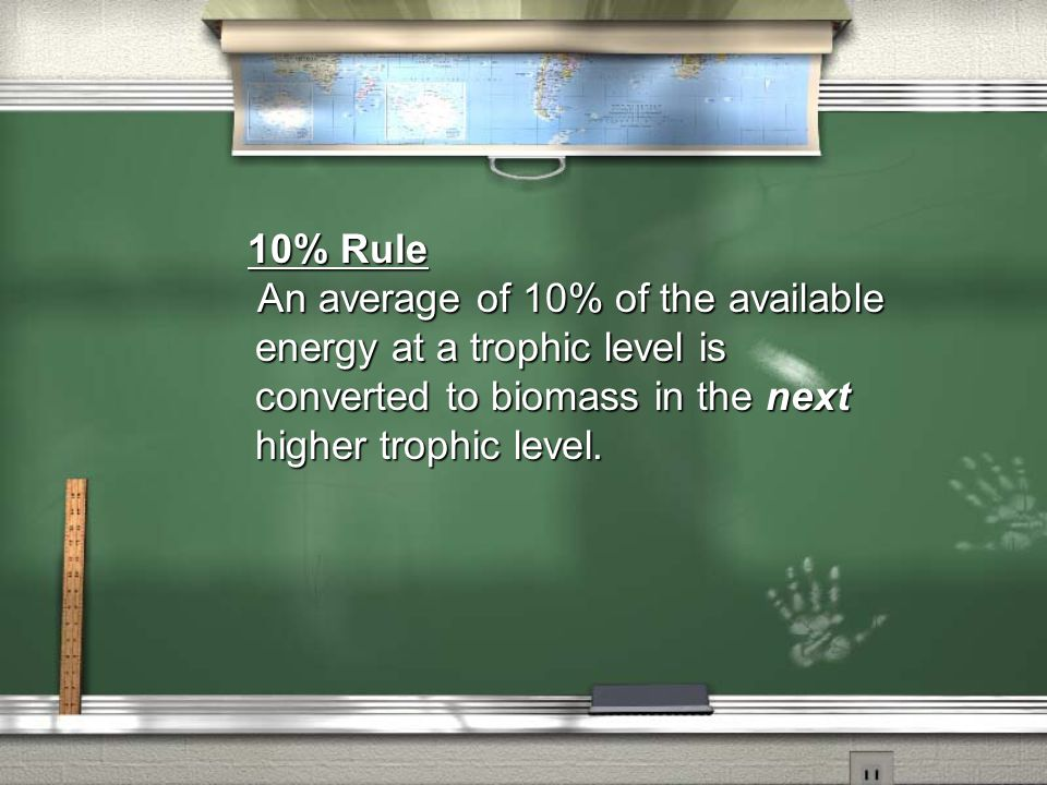 10% Rule An average of 10% of the available energy at a trophic level is converted to biomass in the next higher trophic level.