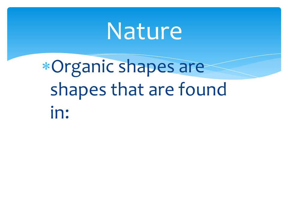 Nature Organic shapes are shapes that are found in: