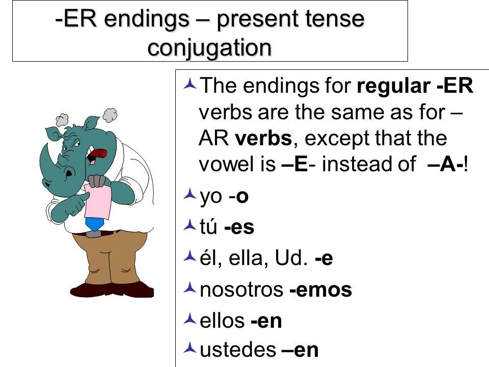-ER endings – present tense conjugation