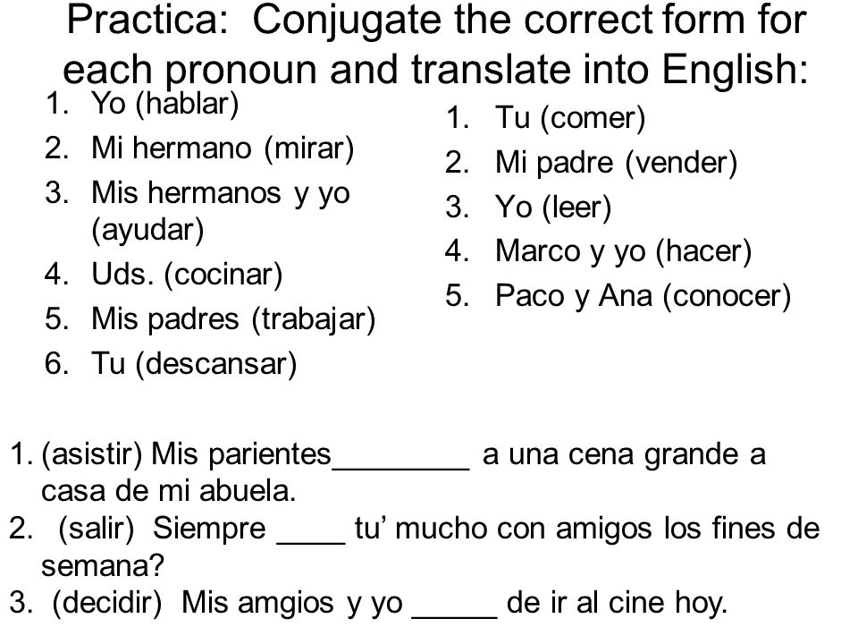 Practica: Conjugate the correct form for each pronoun and translate into English: